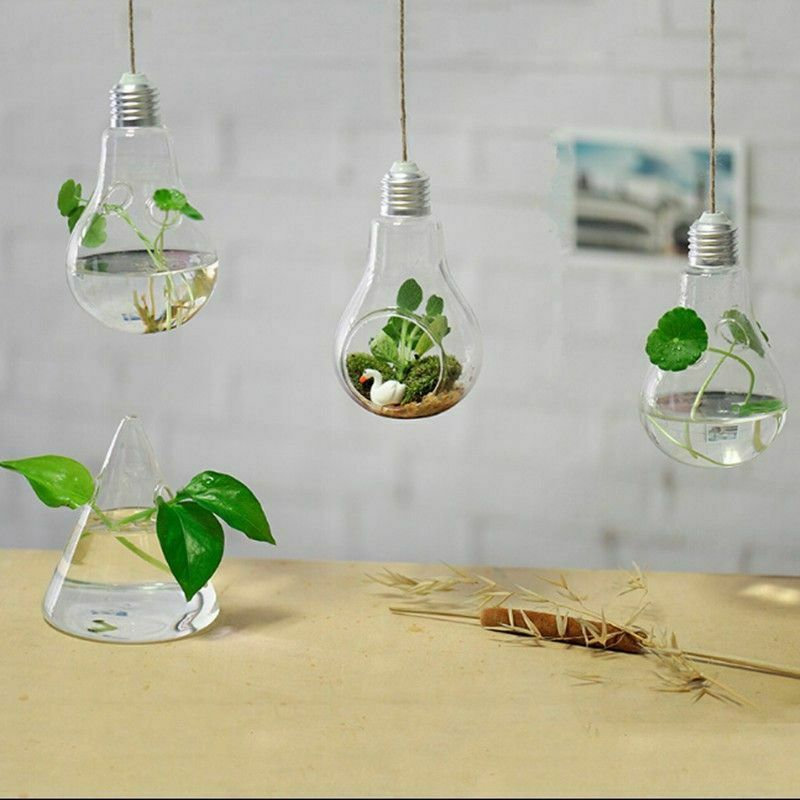 Glass Hanging Lamp Flower Vase Plants Fashion Home Garden Decorations Ornaments Decor Glass Ideas Of Deco In 2020 Light Bulb Vase Hanging Glass Vase Glass Lighting
