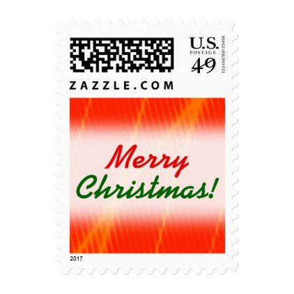Orange Laser Beam Look Lines on a Red Background Postage - christmas