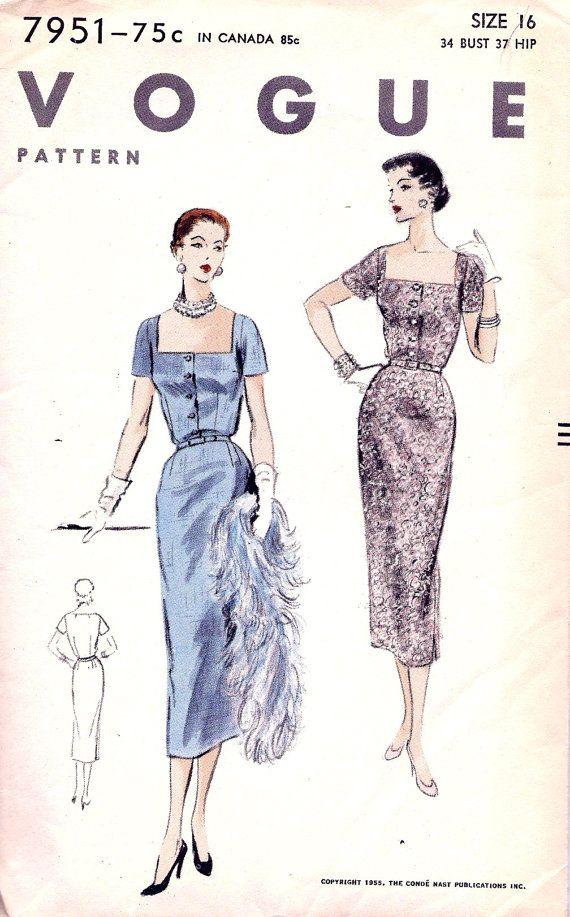UNCUT 1950s Vogue Pattern 7951 Ladies\' Cocktail   Estilo vintage ...