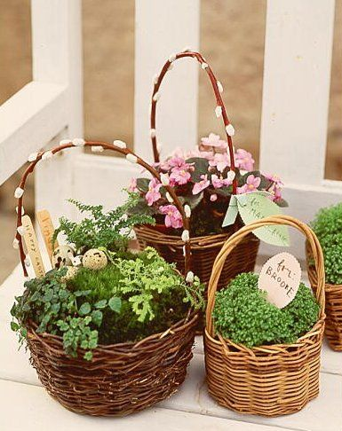 Diy home projects herbs easter and plants plant flowers herbs or grasses in a basket to create a long lasting gift martha stewart living april 2000 negle Choice Image