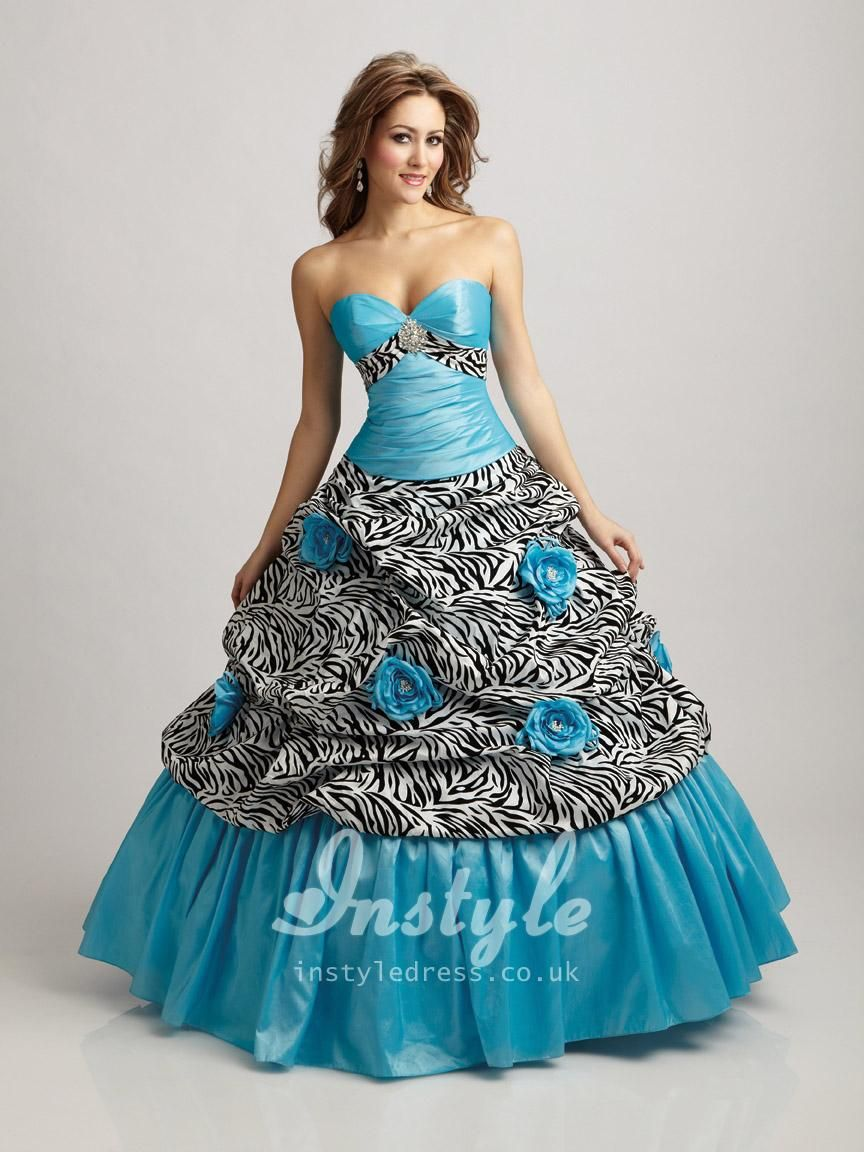 Fashionable turquoise strapless ball gown sweetheart flowers taffeta