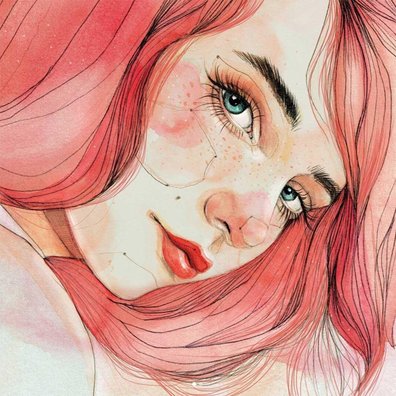 Картинки девочек нарисованные акварелью