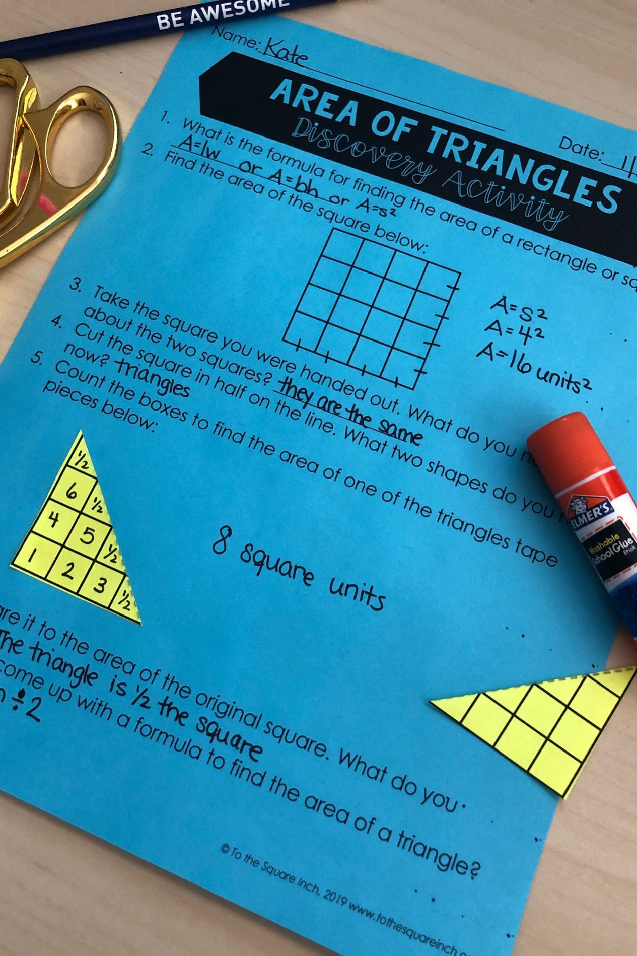 Area Of Triangles Discovery Activity For Interactive