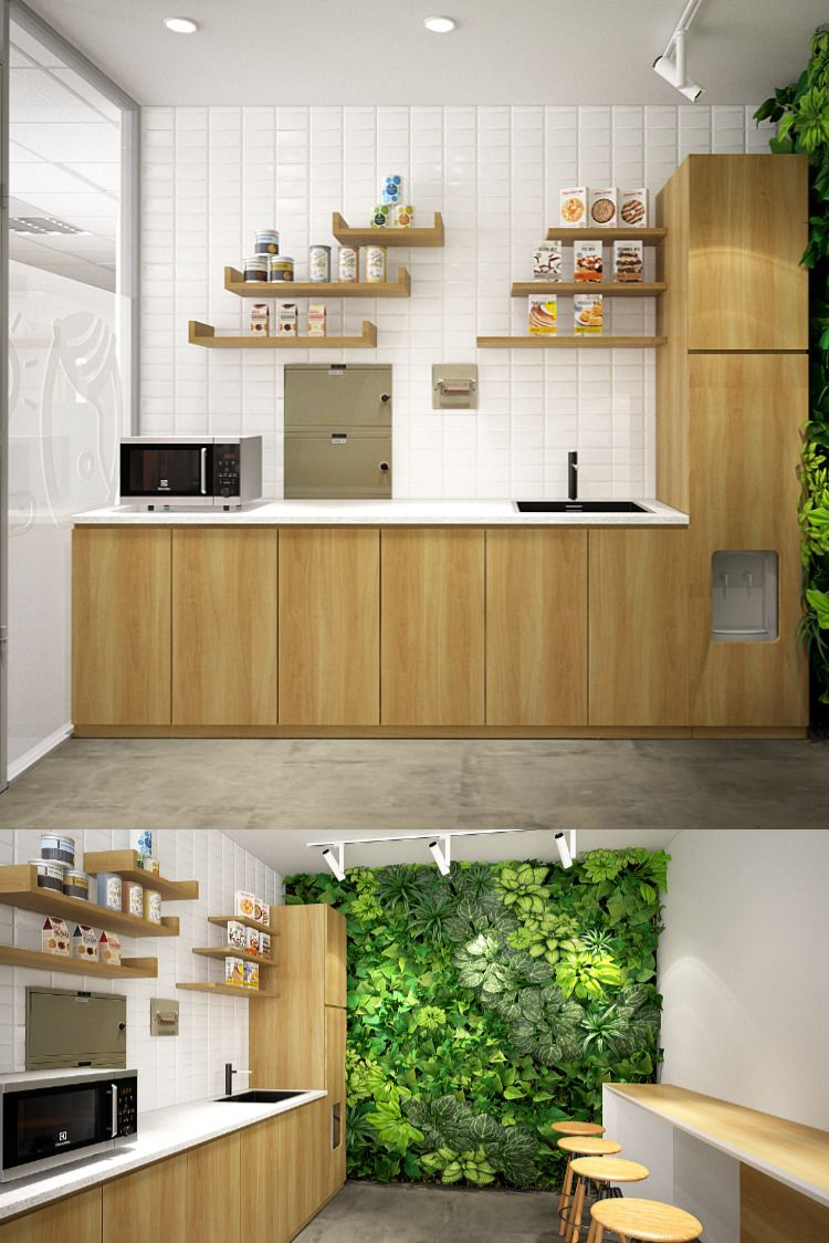 Small Office Pantry With Greeneries Concept Office Pantry Office Interior Design Pantry Interior