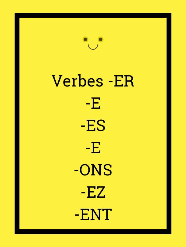 French verbs -ER - verbes en -ER - terminaisons verbes 1er groupe présent indicatif
