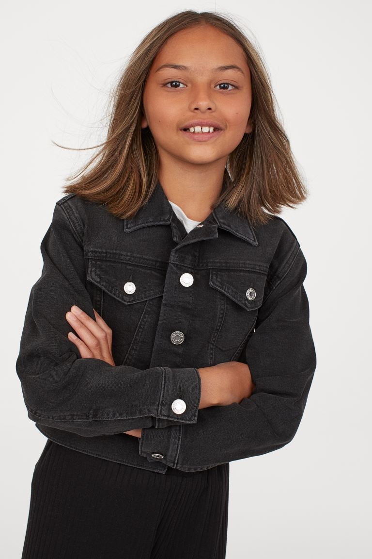 Cropped Denim Jacket Black Kids H M Us 1 In 2020