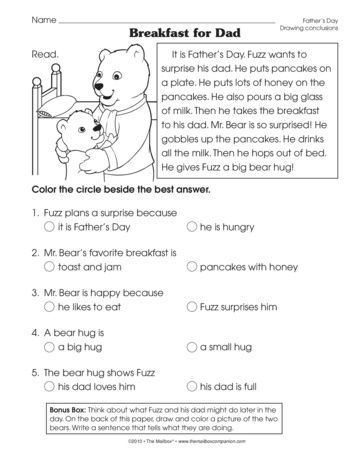reading comprehension worksheet with a father 39 s day theme a freebie from themailbox mother 39 s. Black Bedroom Furniture Sets. Home Design Ideas