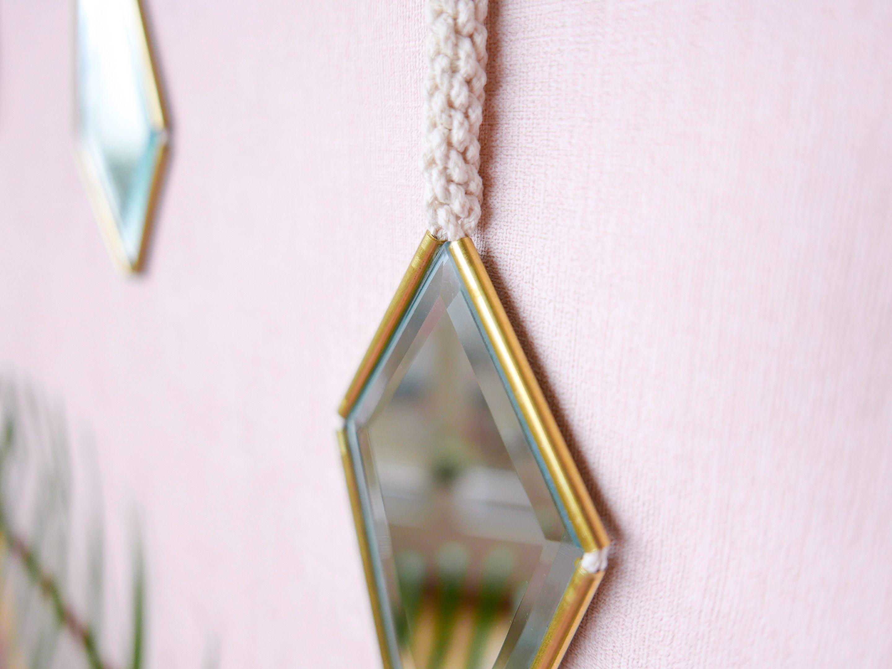 D O N - Vintage brass mirror - Miroir vintage en laiton - Golden - Macramé - Suspension murale - Modern Wall hanging