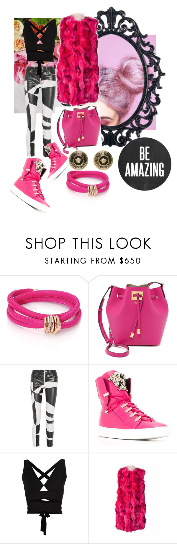 """Pink details"" by jglammy ❤ liked on Polyvore featuring Michele, de Grisogono, Michael Kors, Versus, Versace, Proenza Schouler, women's clothing, women, female and woman"