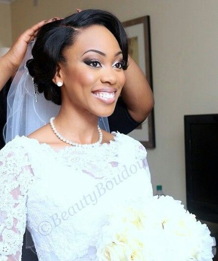 Beautiful Wedding Updo For African American Bride African Wedding Hairstyles African Hairstyles Black Wedding Hairstyles