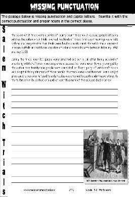 grade 6 halloween missing punctuation salem witch trials worksheet activity halloween. Black Bedroom Furniture Sets. Home Design Ideas