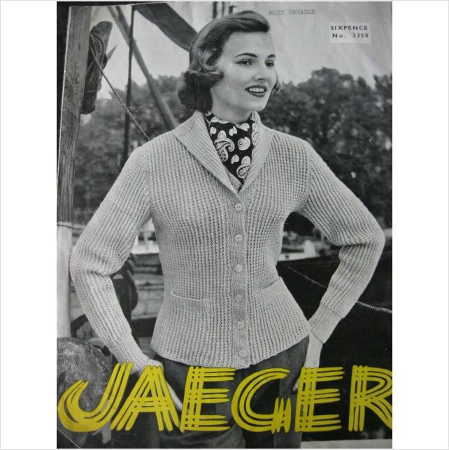Vintage Jaeger Knitting Pattern 3350 Ladies Sweater 1950s