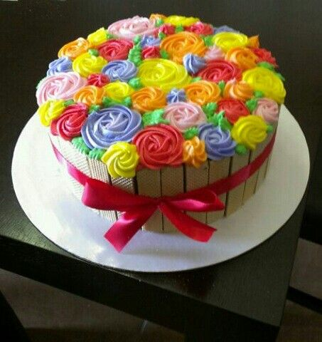 Flower basket cake no fondant wafers used for basket My cakes