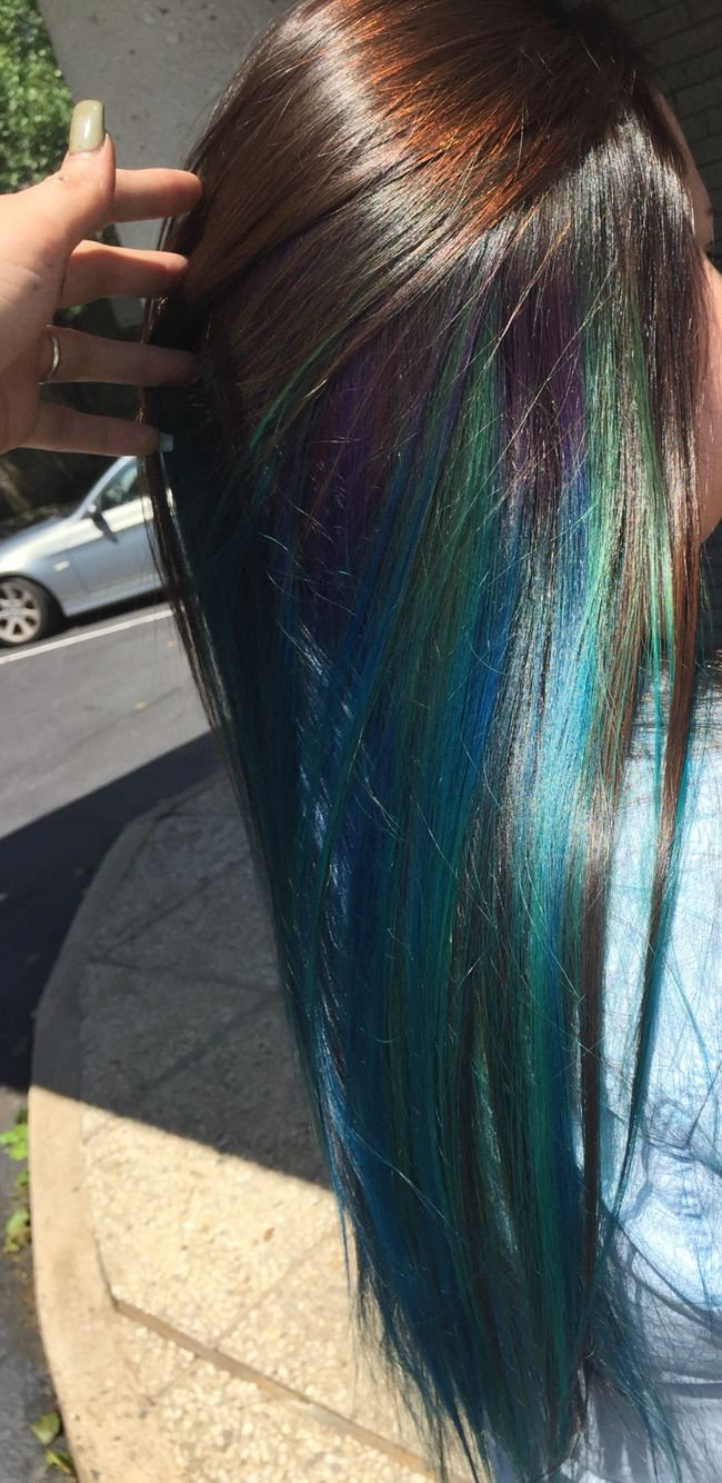 blue blend with hint of purple underneath layer of dark ...