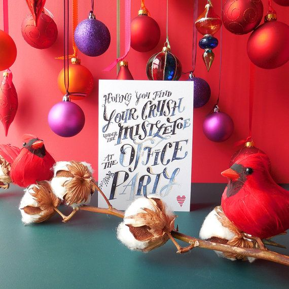 Christmas Card Hoping you find your crush under the mistletoe at – Blank Xmas Cards
