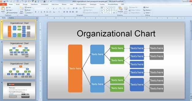 Management Hierarchy Business Org Chart Powerpoint Templates