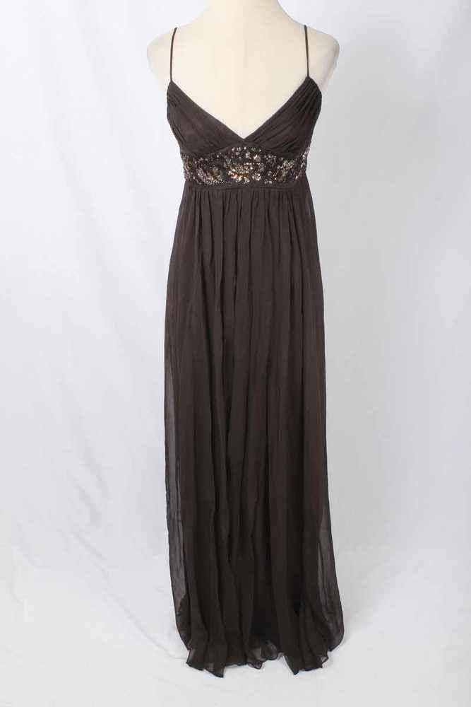 BCBG MaxAzria Size 12 Brown Silk Embellished Empire Waist Evening ...