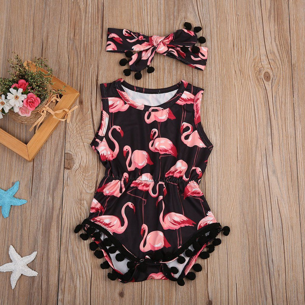 726f397cd00 Baby Girls Pink   Black Flamingo Romper with Matching Headband 2 piece Set