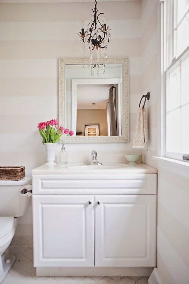Bathroom of stripes! ... more images on the blog {ww.NewlyLoved.com}  photocredit: Anne Herbert Photography Design: Jessica Adams Design