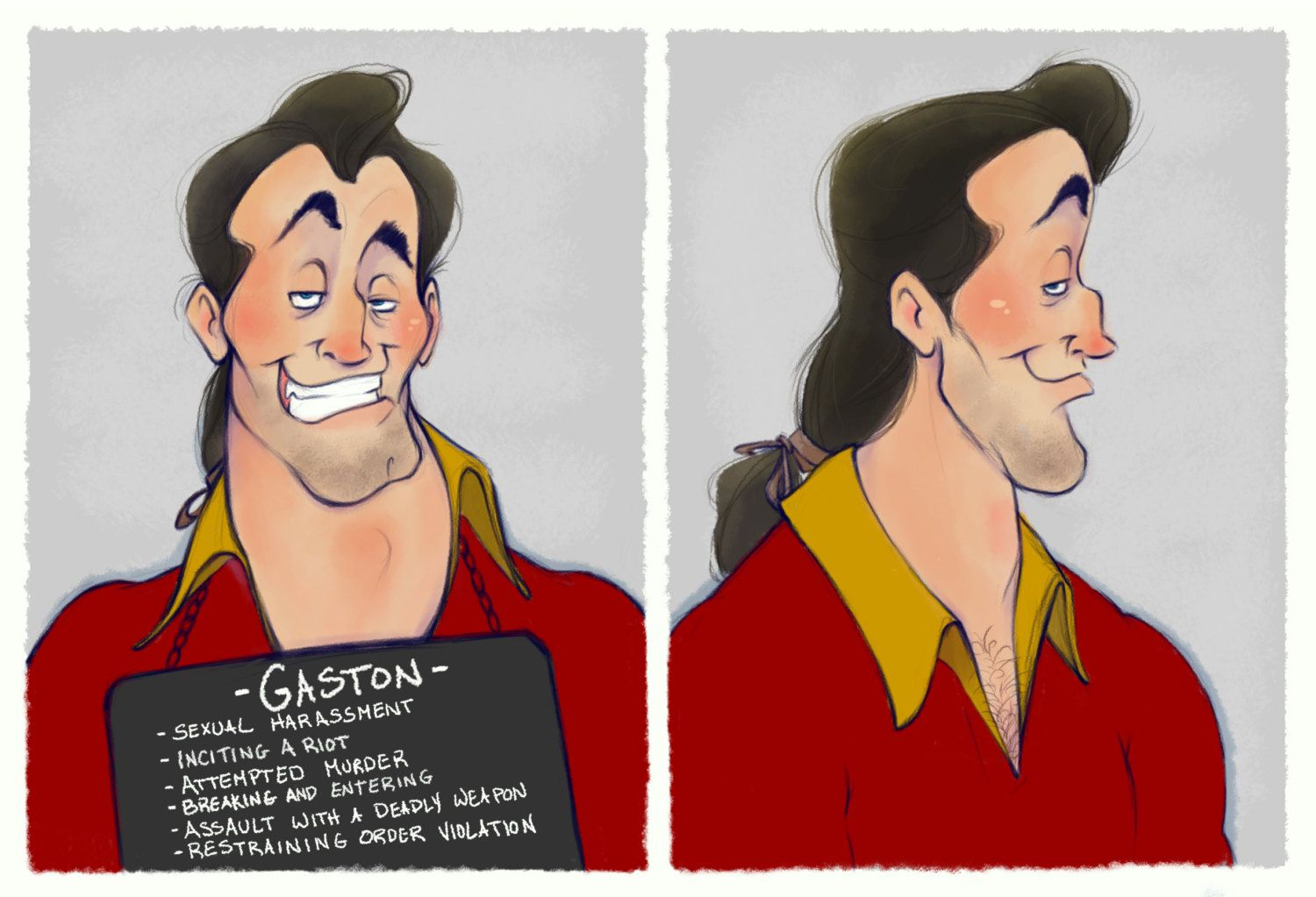 Villain Mugshots Gaston Gaston Disney Villains And Disney S - Artist brings disney villains to life in eerily realistic illustrations
