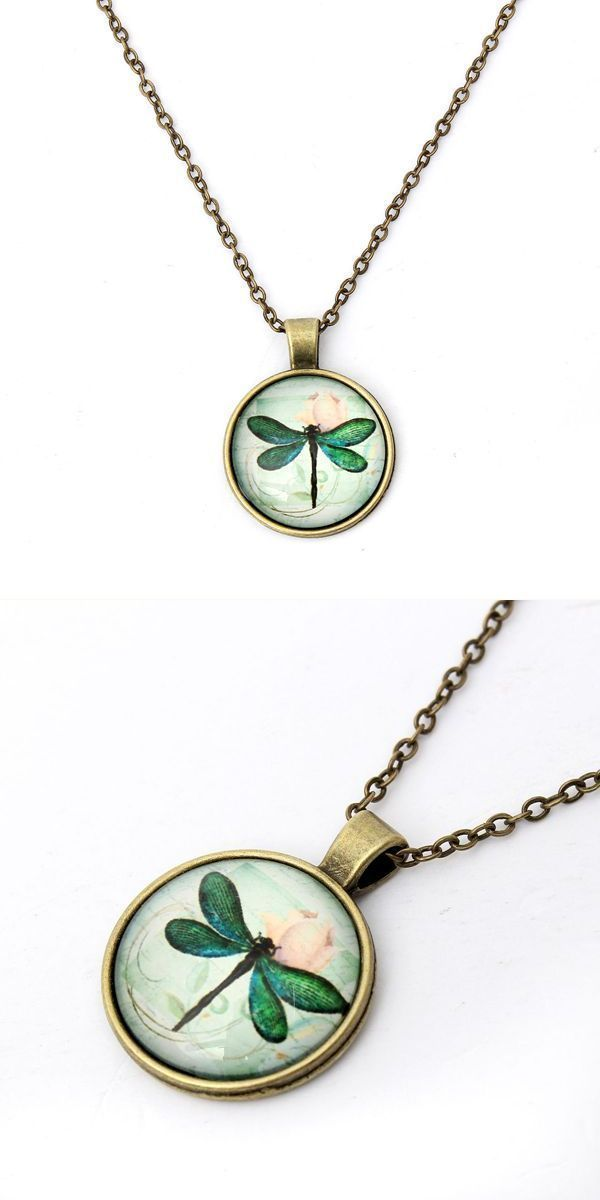 Bronze silver dragonfly glass cabochon pendant chain necklace gold ...