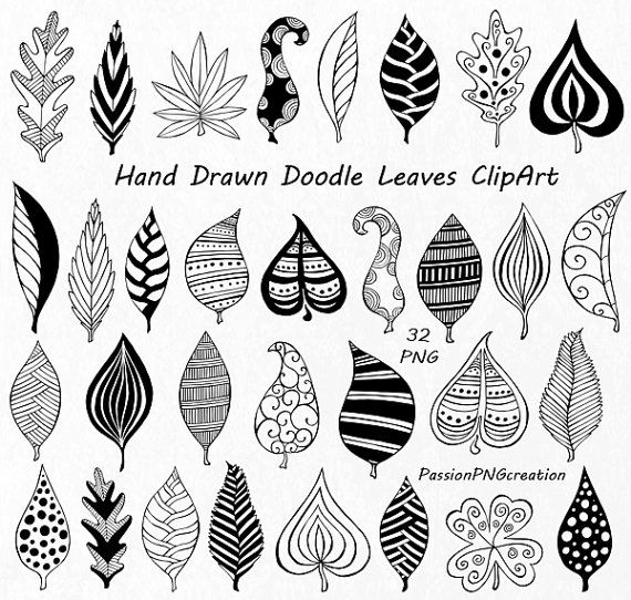 Hand Drawn Doodle Leaves Clipart, leaves silhouette, PNG, EPS, AI ...