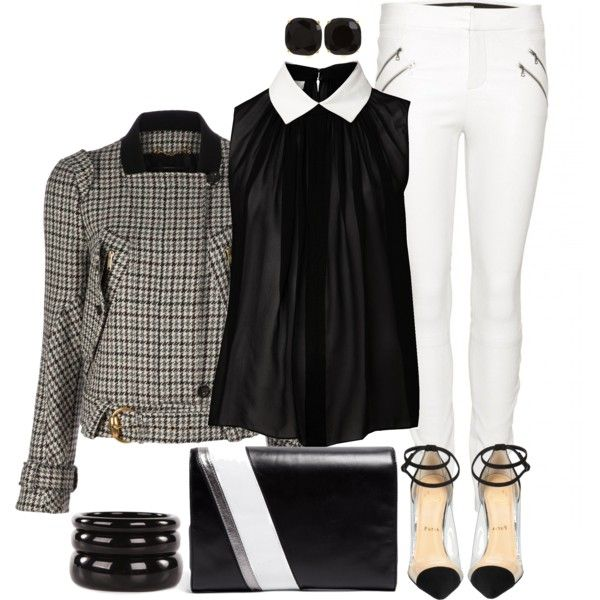 Black and White Houndstooth by angela-windsor on Polyvore