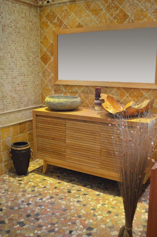 Meuble salle de bain en teck double vasque + mosaique pierre - teck salle de bain sol
