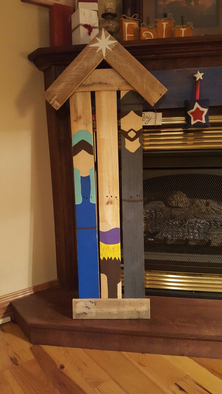 Pallet Wood Painted Nativity Scene Christmas wooden