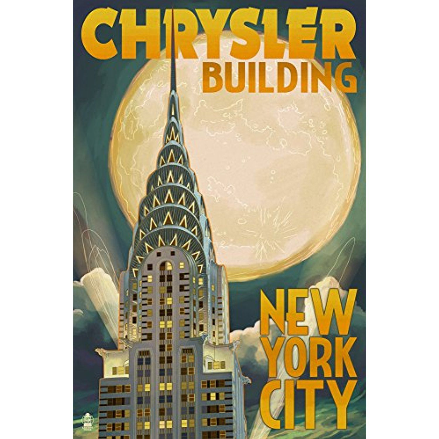 Chrysler Building and Full Moon - New York City, NY (12x18 SIGNED ...