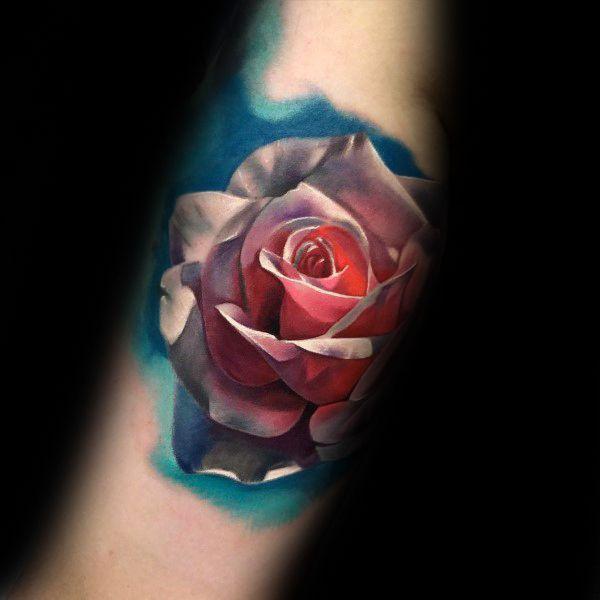 watercolor 3d realistic mens rose flower forearm tatto design inspiration tui pinterest. Black Bedroom Furniture Sets. Home Design Ideas