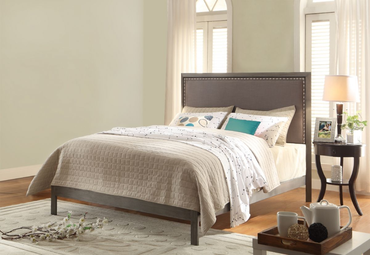 Fashion Bed Group Normandy Complete Platform Bed Queen Steel Grey