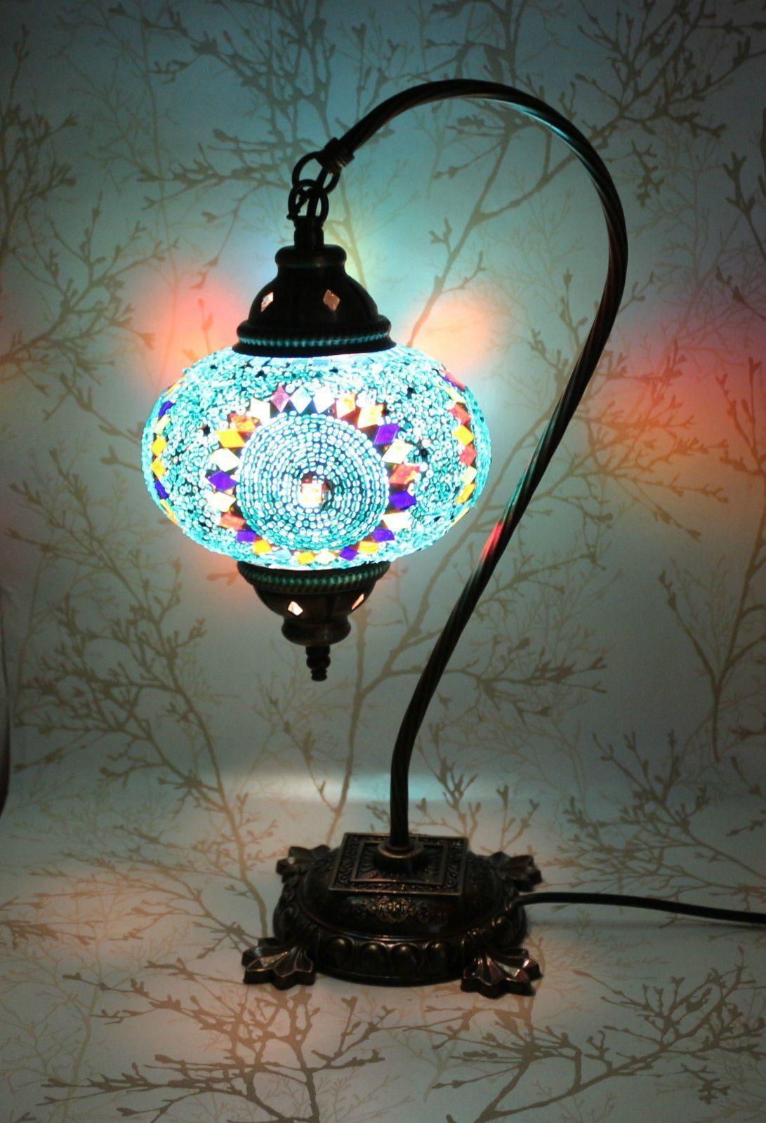 Turkish Mosaic Swan Neck Table Lamp Blue Galore Lamps Avec Images Idee Luminaire Lampes De Table Art De La Lumiere