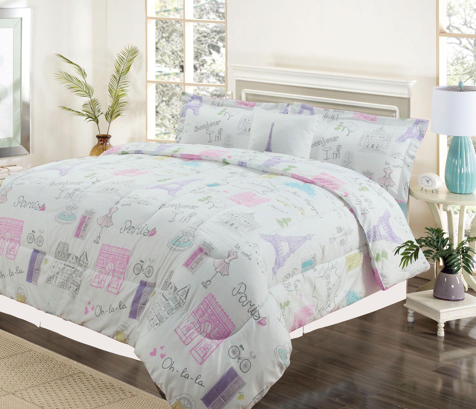 Girls purple and pink bedding - Twin 3 Piece Bedding Girls Comforter Bed Set Paris Eiffel Tower Bonjour Pink Purple