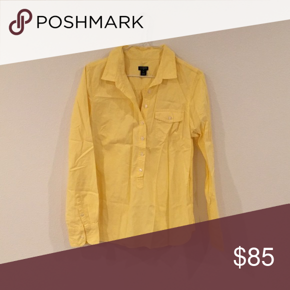 J Crew Yellow Oxford Popover NWOT never worn but the tags fell off! J. Crew Tops Button Down Shirts