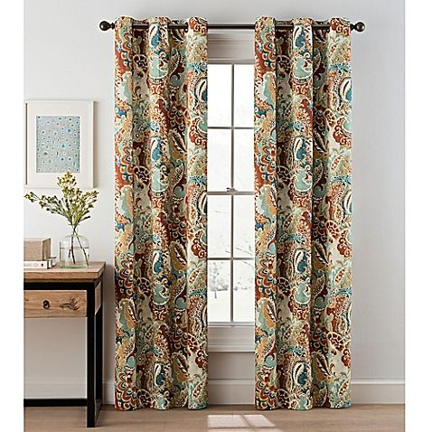 Paisley 84 Inch Grommet Top Window Curtain Panel Pair Curtains