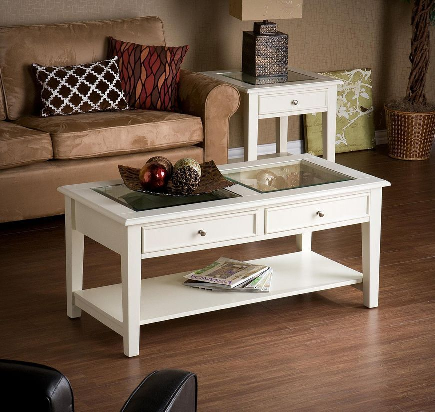 The White Panorama Coffee Table Has A Striking See Through Top To Display Your
