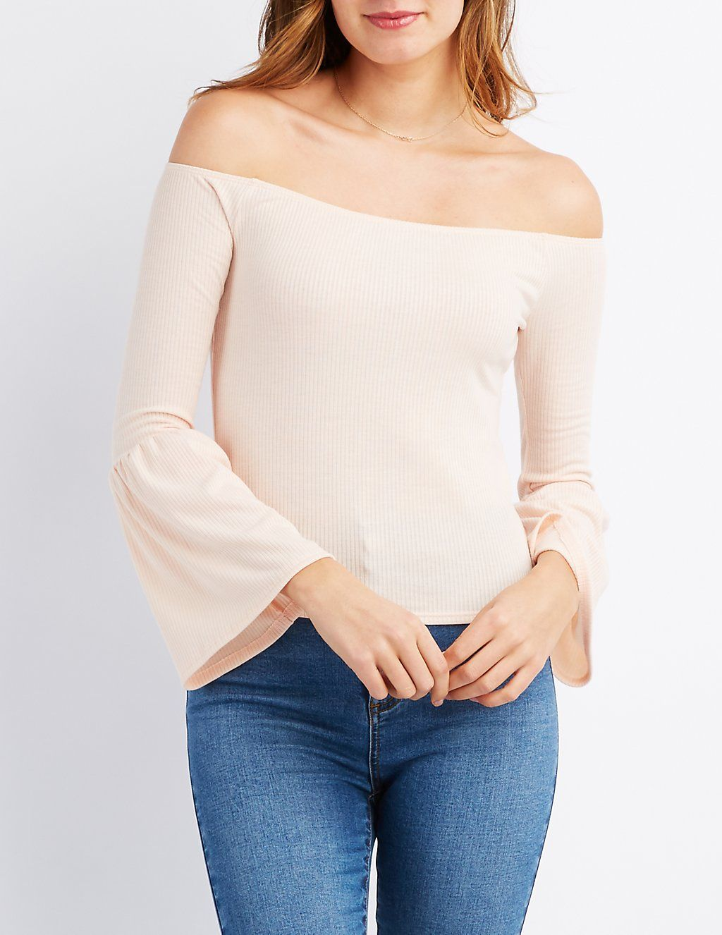78b441667516fb Ribbed Off-The-Shoulder Bell Sleeve Top | Charlotte Russe | Wish ...