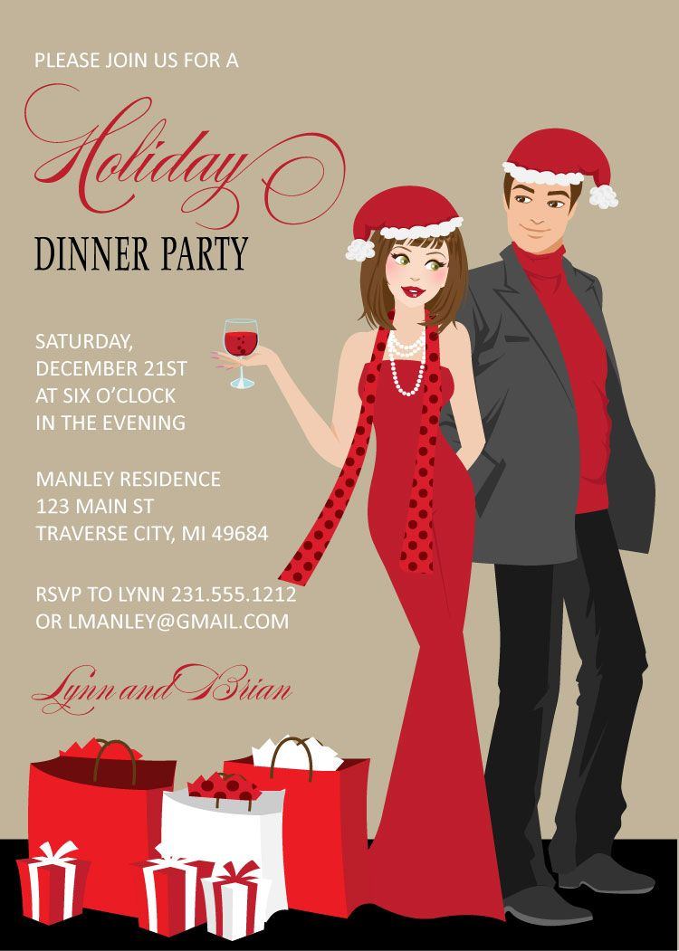 Couples Christmas Party Invitations | Party invitations, Couples ...