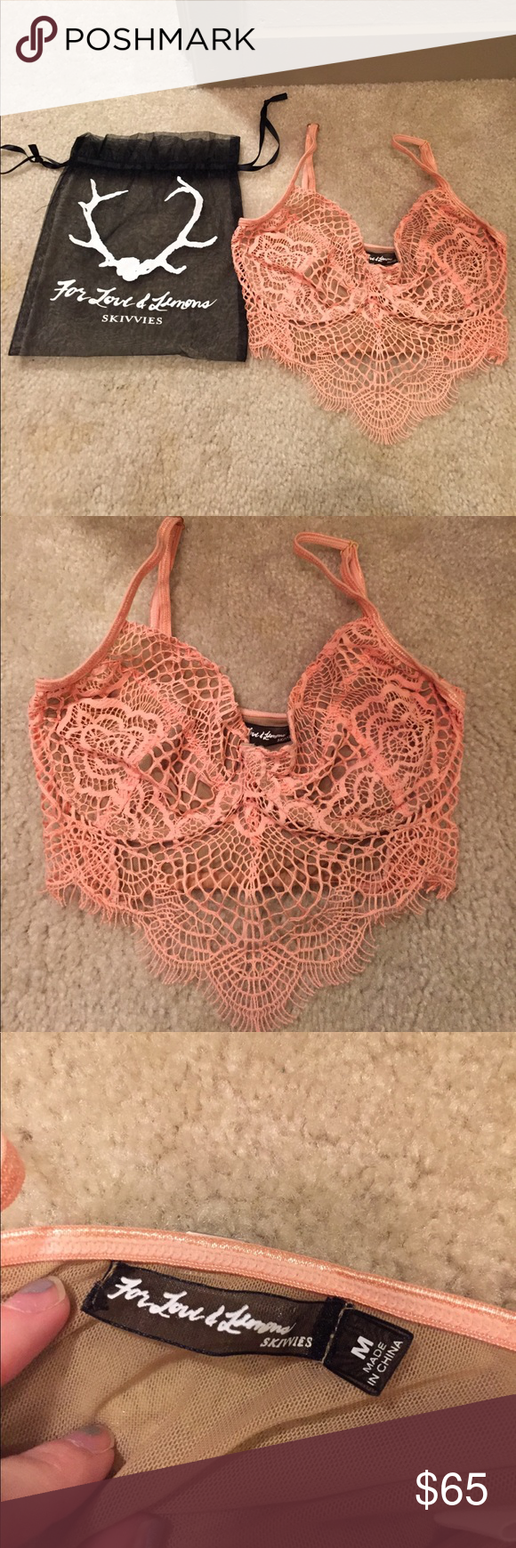 Skivvies bra Bought from another posher a little while ago but I never ended up wearing it. Not sure if it was worn by previous owner or not. Great condition and super cute!! No trades :) For Love And Lemons Intimates & Sleepwear