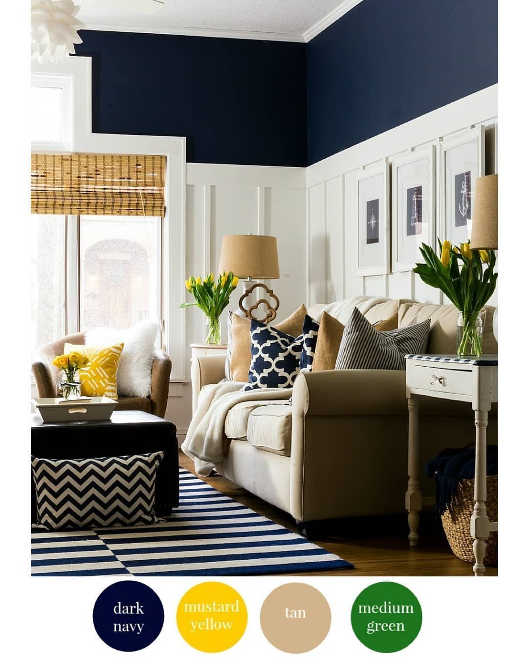 Color Combination No 3 Dark Navy Mustard Yellow Tan Green Color Colorscheme Navyblue Yello Summer Living Room Decor Summer Living Room Navy Living Rooms