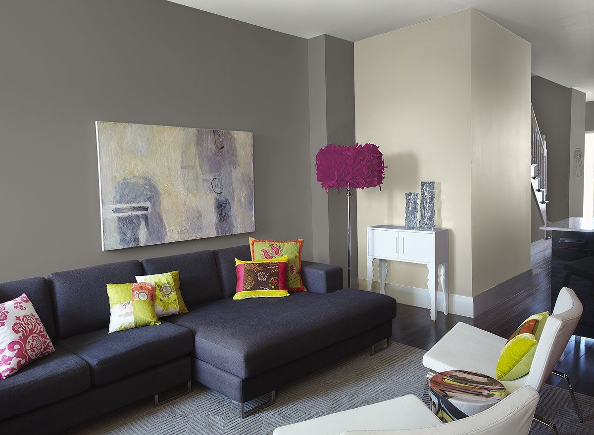 Love the different shades of grey with the dark grey couches, and ...