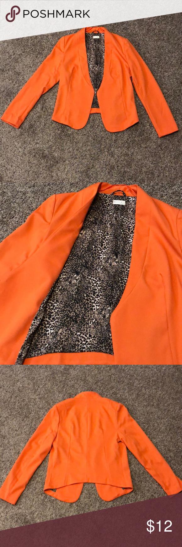 Blazer Orange blazer. Leopard print lining. Drape front Jackets & Coats Blazers
