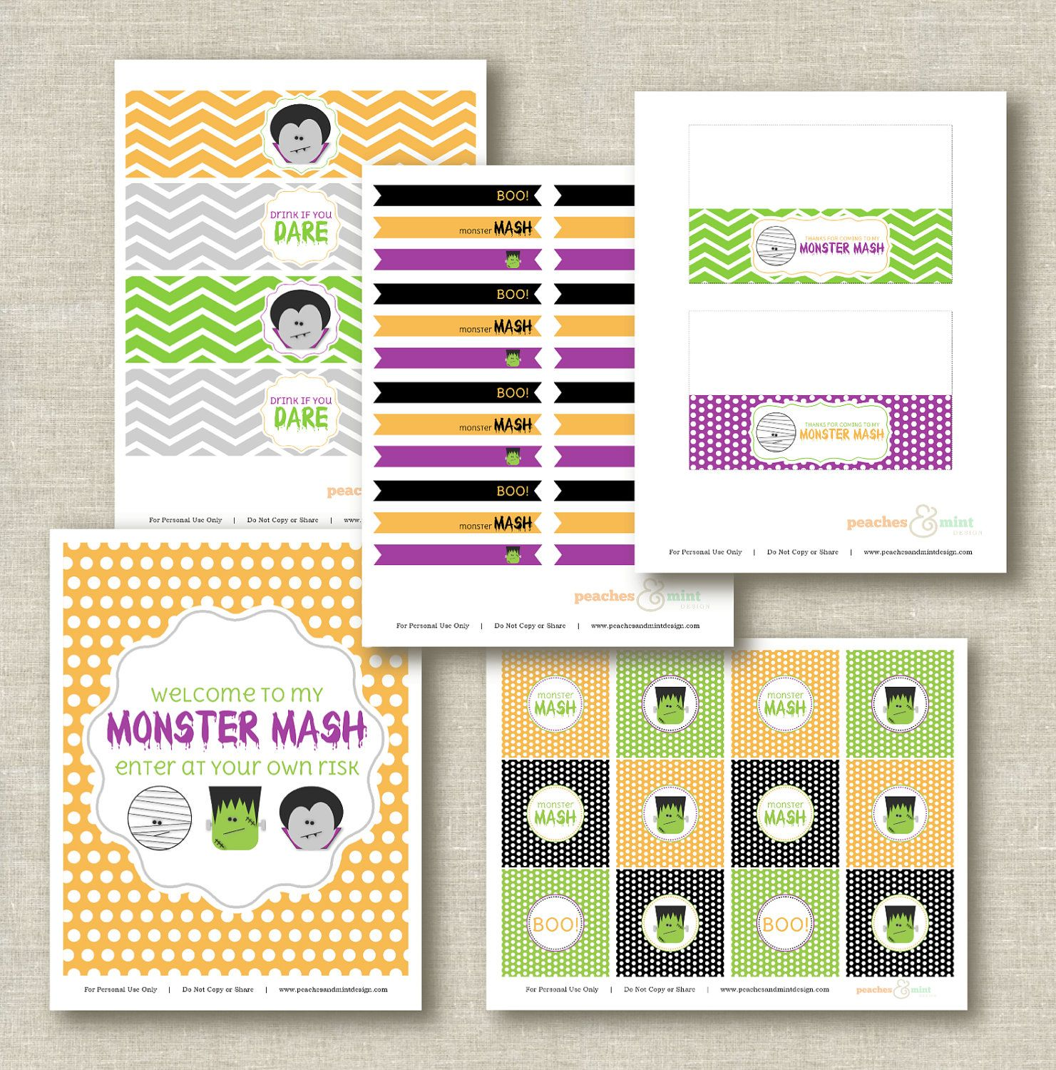 Halloween Party Printables - Complete Monster Mash Collection - Peaches and Mint. Free on Facebook now.