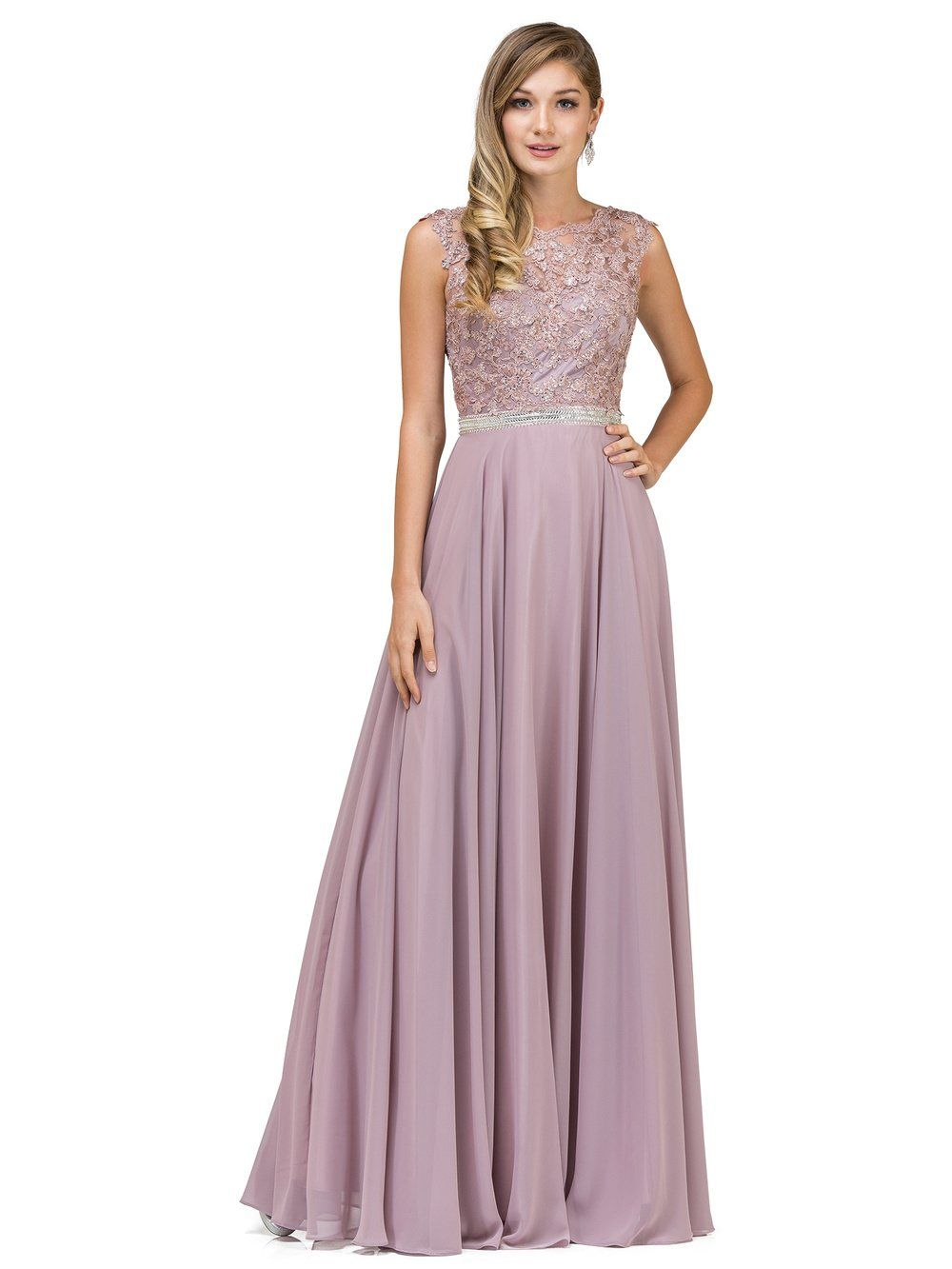 e50b37a2732 Dancing Queen DQ 9675 - Pastel Prom Dress with Illusion-Lace Bodice    Chiffon Skirt - Diggz Prom