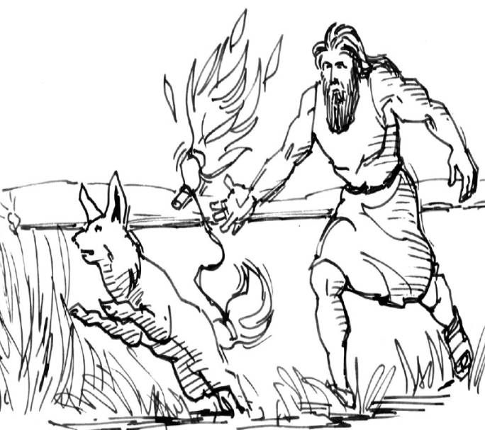 Samson lights the foxes tails on fire. This coloring page