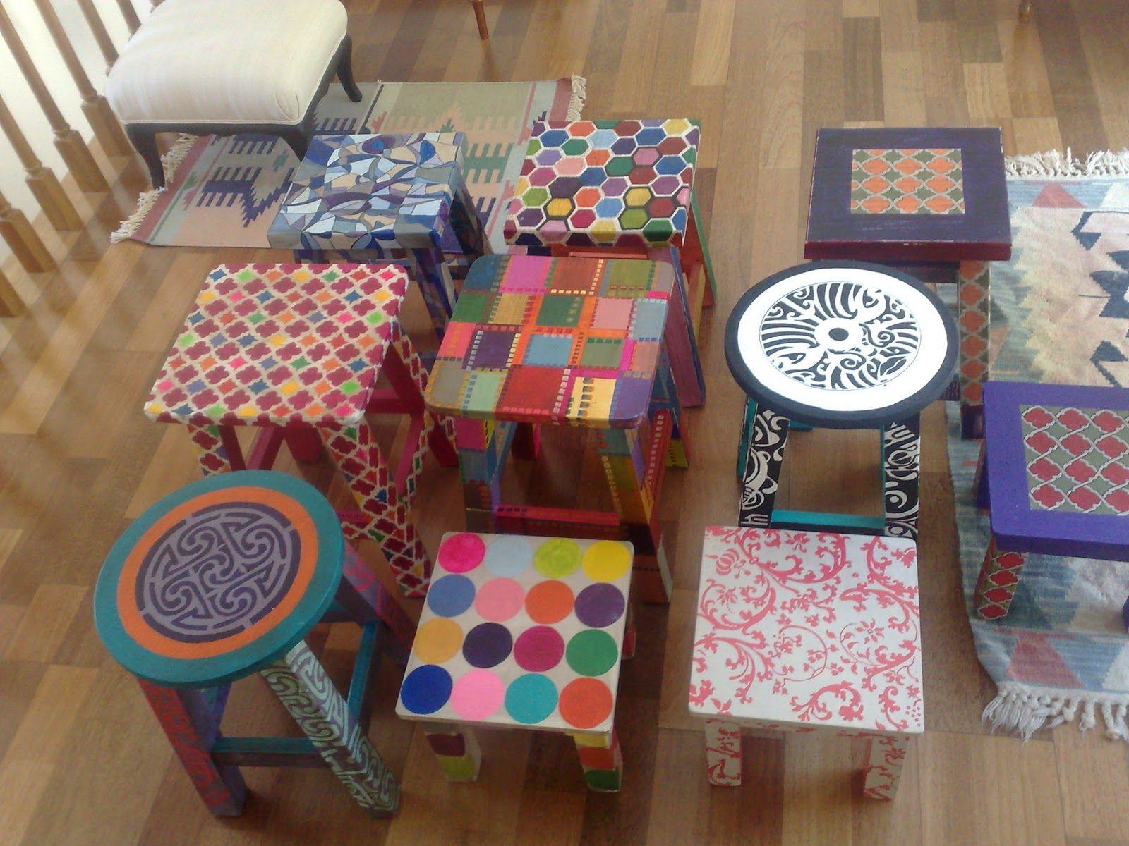 Bancos de colores pintados a mano vintouch interviniendo - Muebles de madera pintados a mano ...