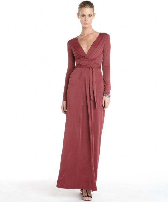 BCBGMAXAZRIA wine stretch v-neck long sleeve maxi wrap dress   long ...