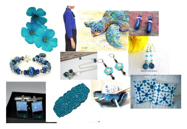"""Gifts in Blue"" by jewelrybyirina ❤ liked on Polyvore featuring art"