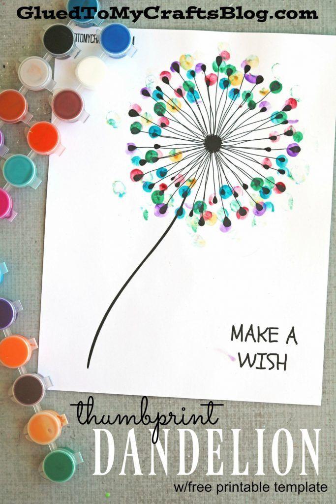 thumbprint dandelion kid craft w free printable art and crafts rh pinterest com